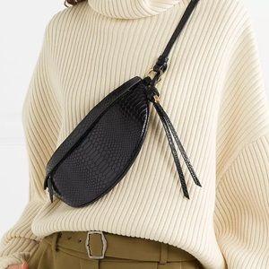 Black Snakeprint Croc Waist Bag